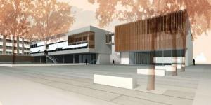 Render amb el projecte de l'ampliació de l'Escola de la Mar Bella