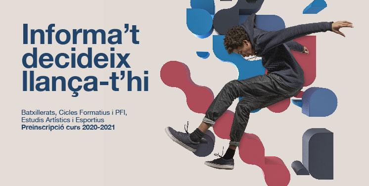 Imatge de la campanya d'ensenyaments postobligatoris amb el text Informa't, decideix llança-t'hi