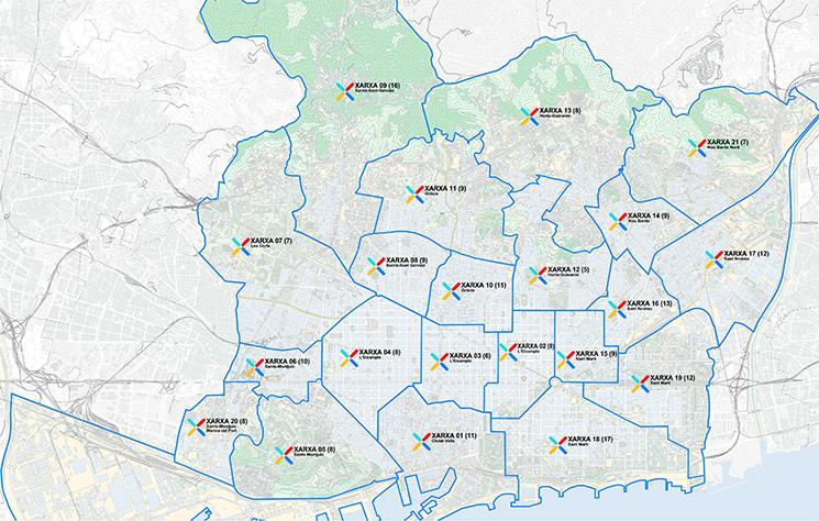 Mapa de les 21 xarxes per al canvi