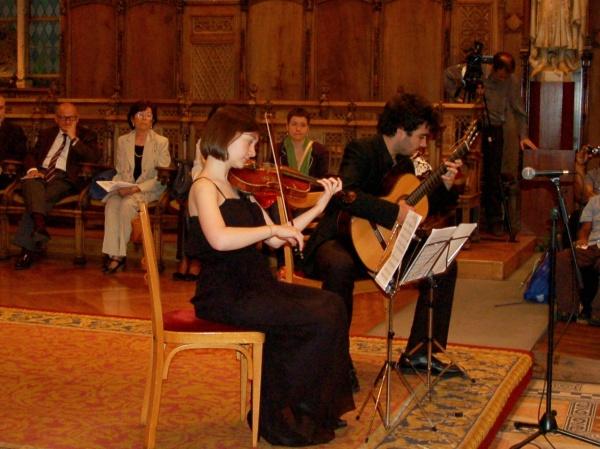 Imatge de l'actuació del duet del Conservatori Superior del Liceu.